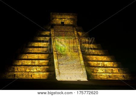 Chichen Itza Mexico - October 25 2016 : Light show on mayan pyramid in Chichen Itza Mexico
