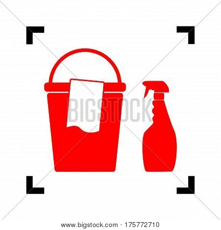 Bucket and a rag with Household chemical bottles. Vector. Red icon inside black focus corners on white background. Isolated.