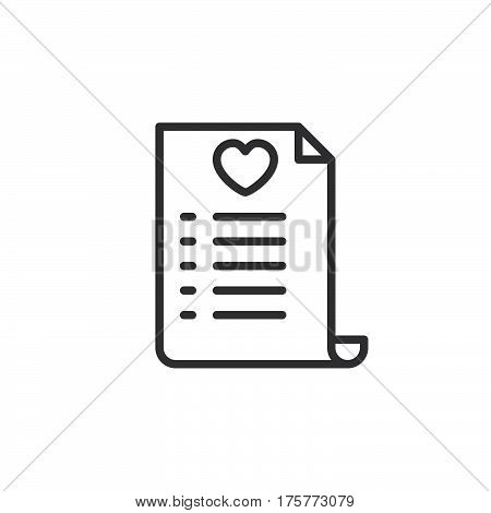 Wish list line icon outline vector sign linear style pictogram isolated on white. Symbol logo illustration
