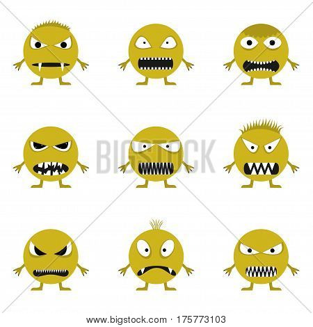 Cute angry evil monster set. Wicked face set