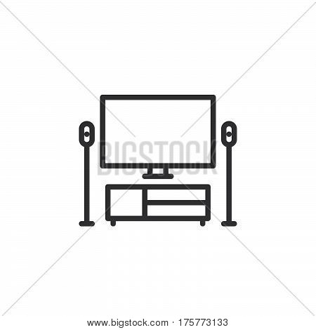 TV home theater line icon outline vector sign linear style pictogram isolated on white. Symbol logo illustration