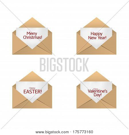 Envelope with congratulations card set. Happy New Year Merry Christmas Happy Valentine's day Happy Easter