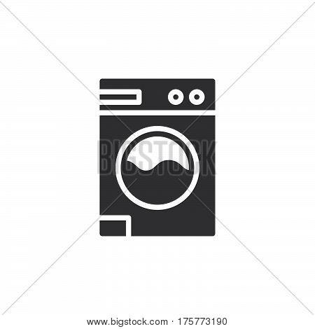 Laundry washing machine icon vector filled flat sign solid pictogram isolated on white. Symbol logo illustration
