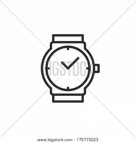 Wrist watch line icon outline vector sign linear style pictogram isolated on white. Wristwatch symbol logo illustration
