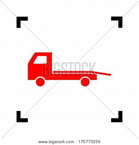Service of evacuation sign. Wrecking car side. Car evacuator. Vehicle towing. Vector. Red icon inside black focus corners on white background. Isolated.