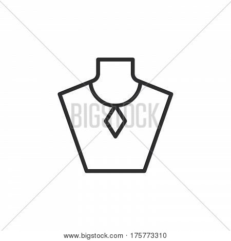 Necklace display bust line icon outline vector sign linear style pictogram isolated on white. Jewelry symbol logo illustration