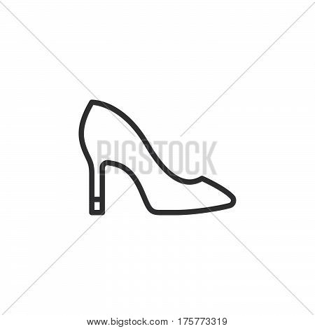 Womens shoes line icon outline vector sign linear style pictogram isolated on white. Symbol logo illustration