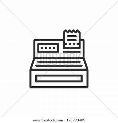 Cash register line icon outline vector sign linear style pictogram isolated on white. Order checkout symbol logo illustration
