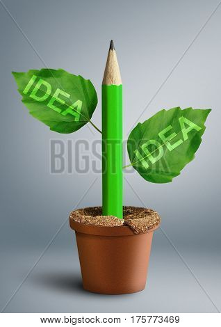 new ideas concept pencil with leaves as stem
