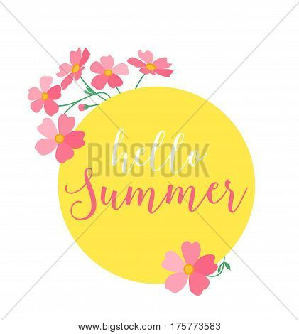 Vector illustration of a circle decorated with pink flowers, Hello summer