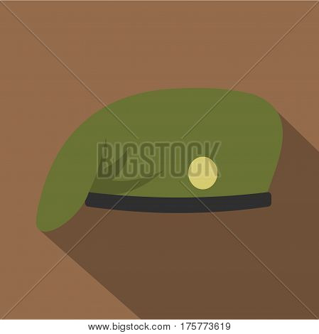 Military cap icon. Flat illustration of military cap vector icon for web