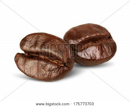 Two coffee beans isolated on white path