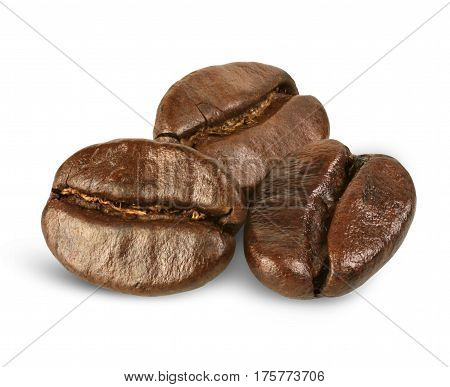 few coffee beans isolated on white path