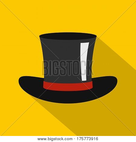 Silk hat icon. Flat illustration of silk hat vector icon for web