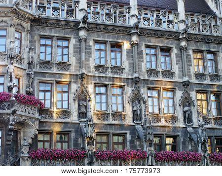 Munich Germany- July 2015: Marienplatz landmark square building exterior art details