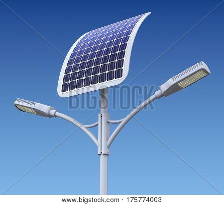 Modern LED street lamp with solar panel - 3D illustration