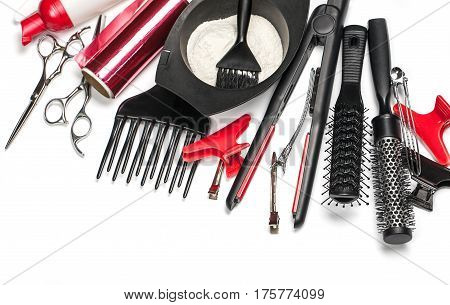 the Professional hairdresser tools isolated on white