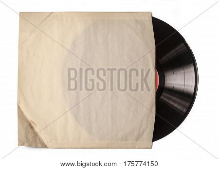 Old vinyl record in a paper case on white backgropund
