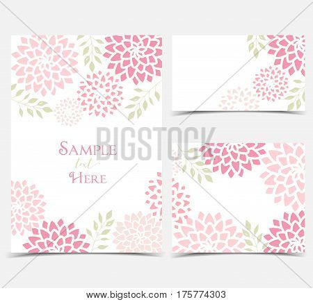 Set vector illustration pink flowers on a white background. Floral invitations