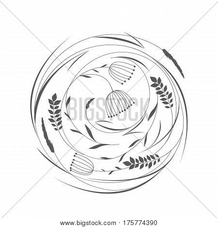 Vector illustrations floral circle with grass and flowers