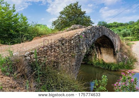 Old traditional stone bridge in Peloponnese, Greece