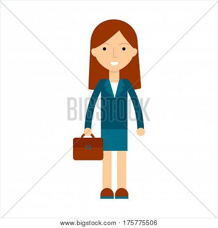 Cute cartoon business woman in flat style. Isolated cartoon business woman with brown hair and business suit. Vector smiling cartoon business woman for use in variety of projects.