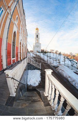 Russian orthodox church. Fisheye view of the Iversky monastery in Samara Russia