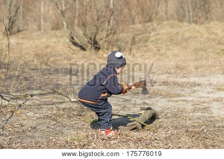 Boy Chopping Firewood In The Nature For A Fire