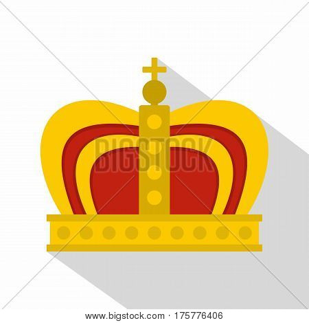 Monarchy crown icon. Flat illustration of monarchy crown vector icon for web