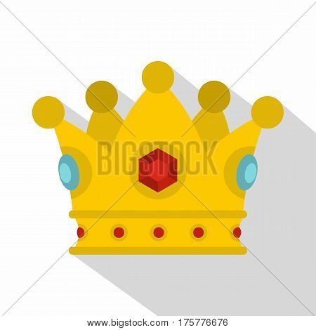 Precious crown icon. Flat illustration of precious crown vector icon for web
