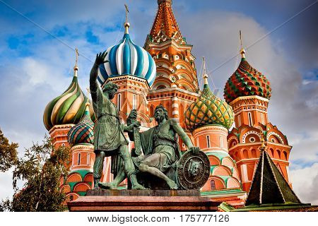 St. Basil's Pokrovsky Cathedral on the red square in Moscow, Russia. Minin and Pozharsky monument