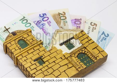 A Conceptual image about money and religion