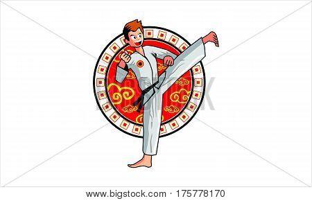 karateka kicking athletes with red circle decoration