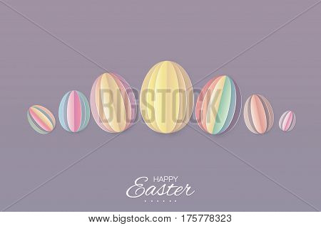 Origami Happy Easter Greating card. Seven Colorful Paper cut pastel Easter Egg. Horizontal Purple background. Vector illustration.
