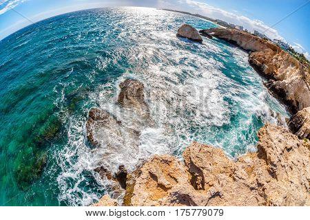 Beautiful Mediterranean coastline near Ayia Napa. Famagusta District Cyprus.