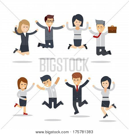 Happy business people jumping. Team work.Group of businessman and businesswoman people. Busness infographic elements. Office people jumping celebrating victory- Flat vector illustration