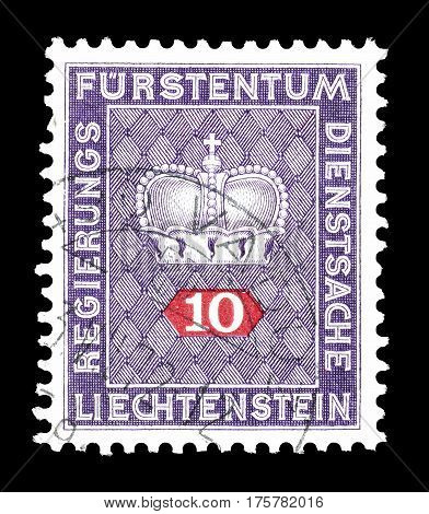 LIECHTENSTEIN - CIRCA 1968 : Cancelled postage stamp printed by Liechtenstein, that shows Royal Crown.