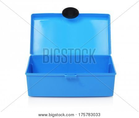 Empty Blue Handy Box on White Background