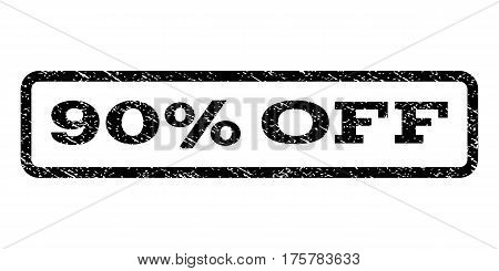 90 Percent Off watermark stamp. Text tag inside rounded rectangle with grunge design style. Rubber seal stamp with scratched texture. Vector black ink imprint on a white background.