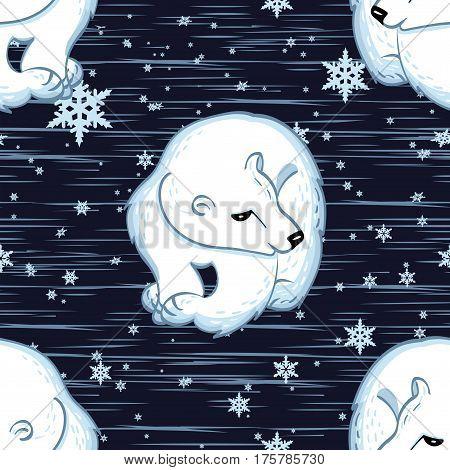 Seamless vector pattern. Cute polar bears pattern on the blue snowy background.