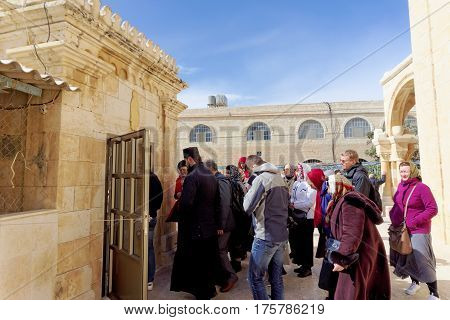 Bethlehem, Israel. - February 14.2017. The Cave Of The Killed Bethlehem Infants - Pilgrims Descend U