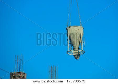 Crane Using Concrete Bucket