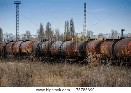 Abandoned Rusty Railway Containers For As And Oil Transportation