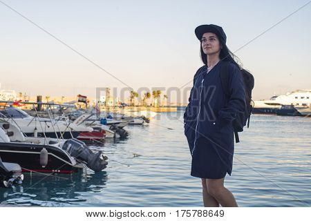 Beautiful Girl. Girl On The Dock