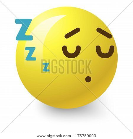 Sleepy smiley icon. Cartoon illustration of sleepy smiley vector icon for web