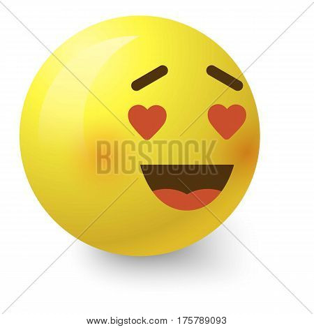 In love smiley icon. Cartoon illustration of in love smiley vector icon for web