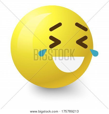 Laughing to tears smiley icon. Cartoon illustration of laughing to tears smiley vector icon for web