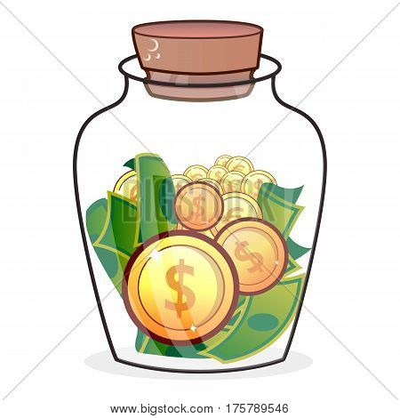 Coin in jar icon. Flat illustration of coin in jar vector icon for web