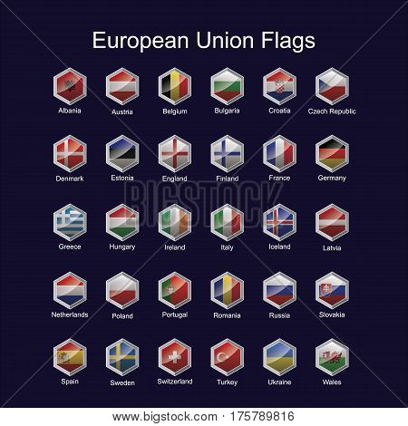 The flag of the european continent in the area of hexagons sparkling,