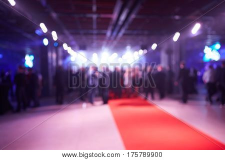 Abstract blurred people in press conference event, business concept.